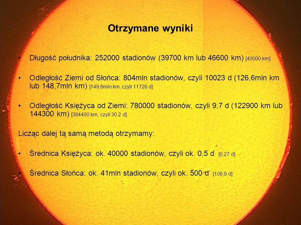 Otrzymane wyniki Długość południka: 252000 stadionów (39700 km lub 46600 km) [40000 km]